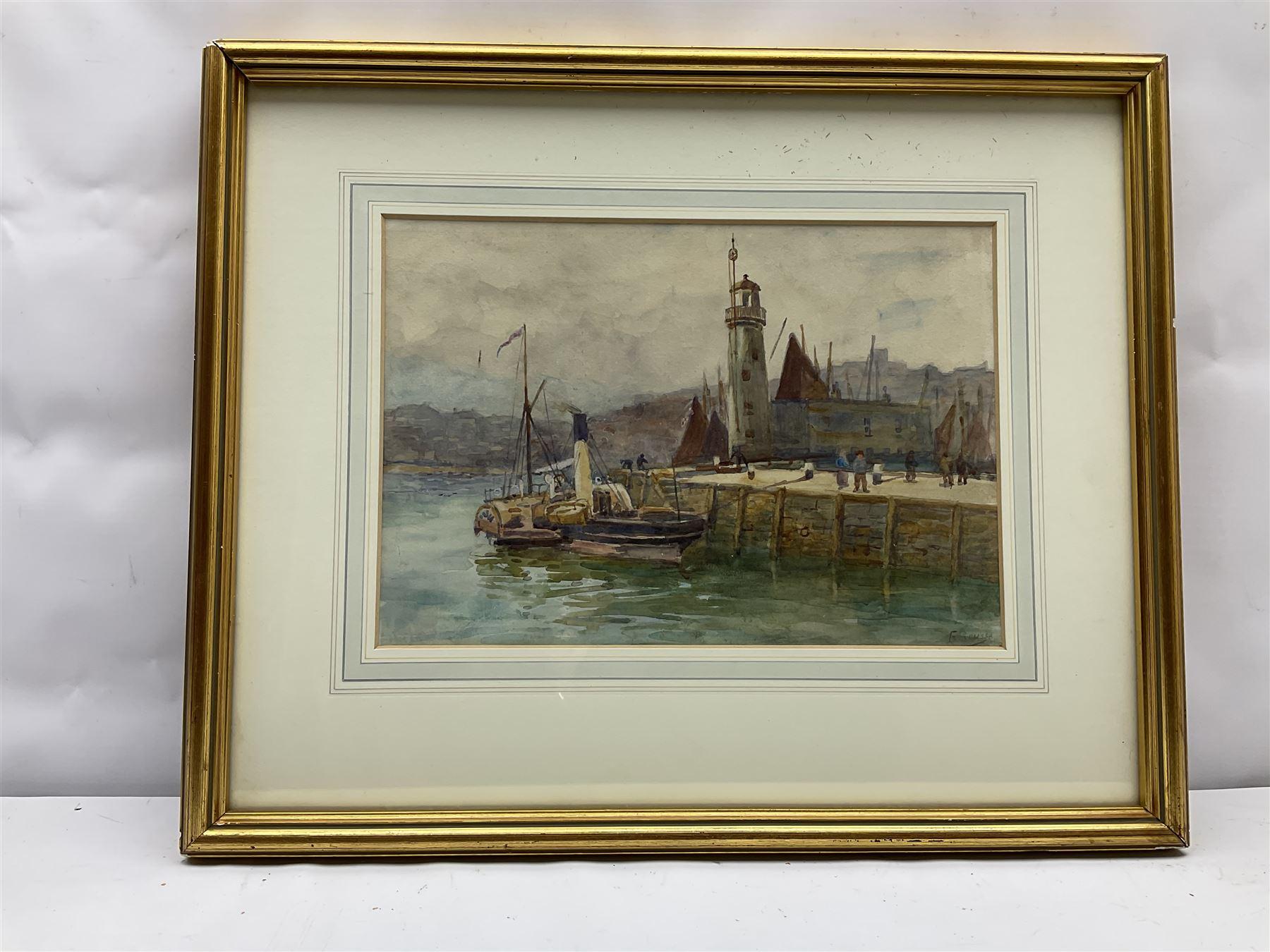Frank Rousse (British fl.1897-1917): Paddle Steamer moored along side Scarborough Lighthouse - Image 2 of 4