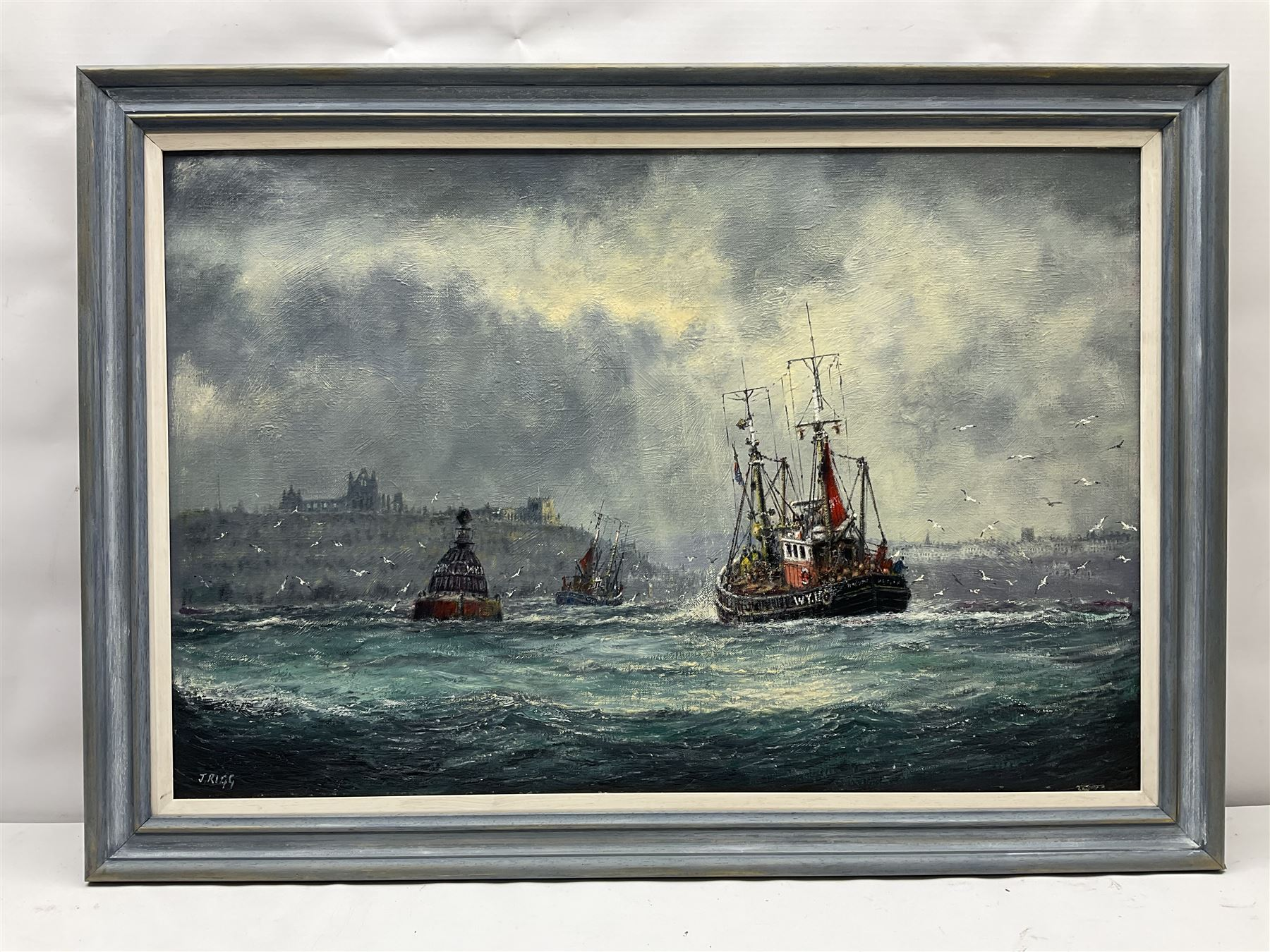 Jack Rigg (British 1927-): Fishing Boats Returning to Whitby Harbour in Choppy Seas - Image 2 of 4
