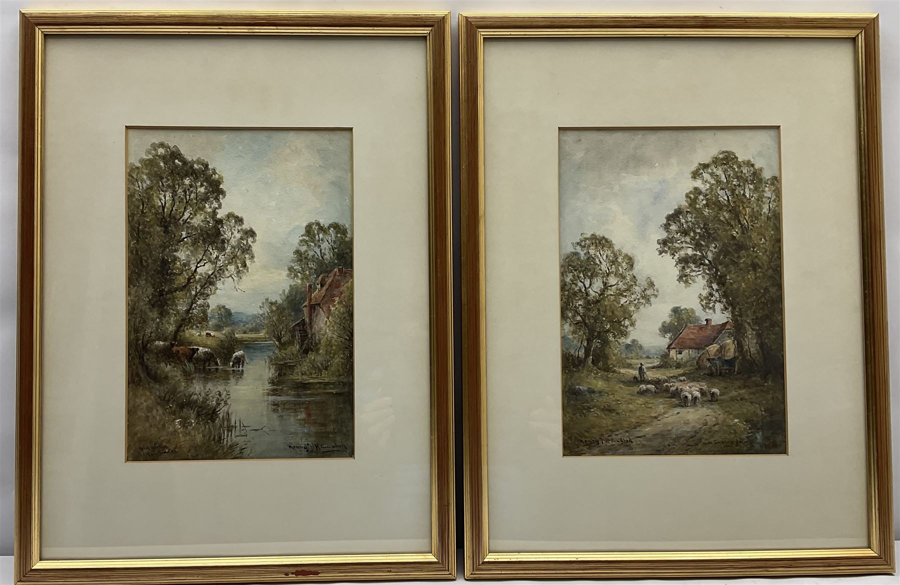 Henry J Kinnaird (British fl.1880-1920): 'Old Mill Winchester' and 'A Sussex Lane' - Image 2 of 7