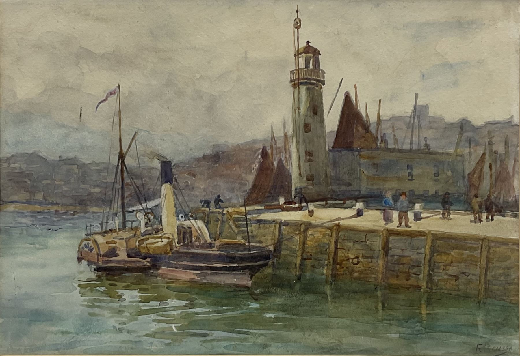 Frank Rousse (British fl.1897-1917): Paddle Steamer moored along side Scarborough Lighthouse