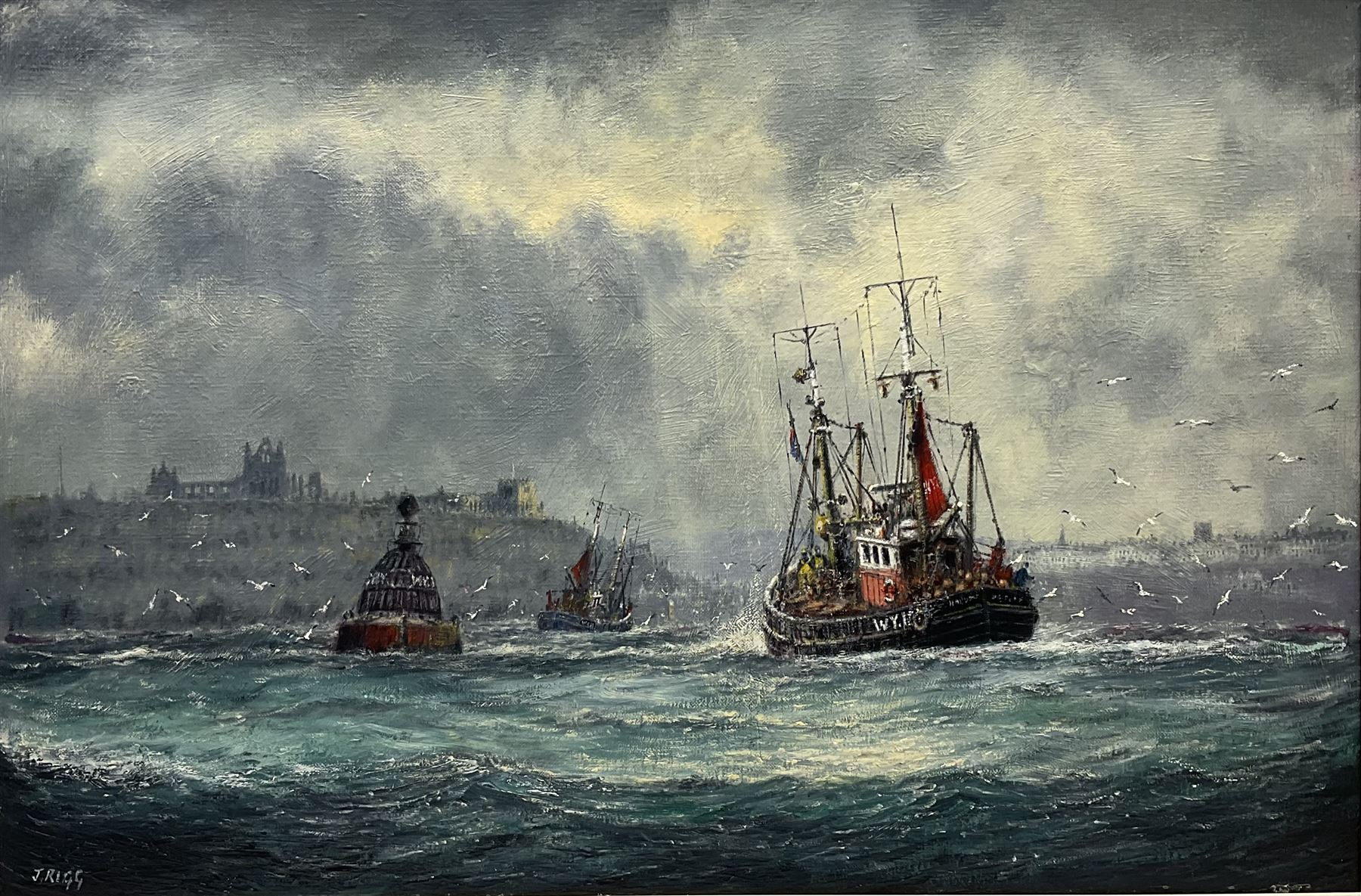 Jack Rigg (British 1927-): Fishing Boats Returning to Whitby Harbour in Choppy Seas