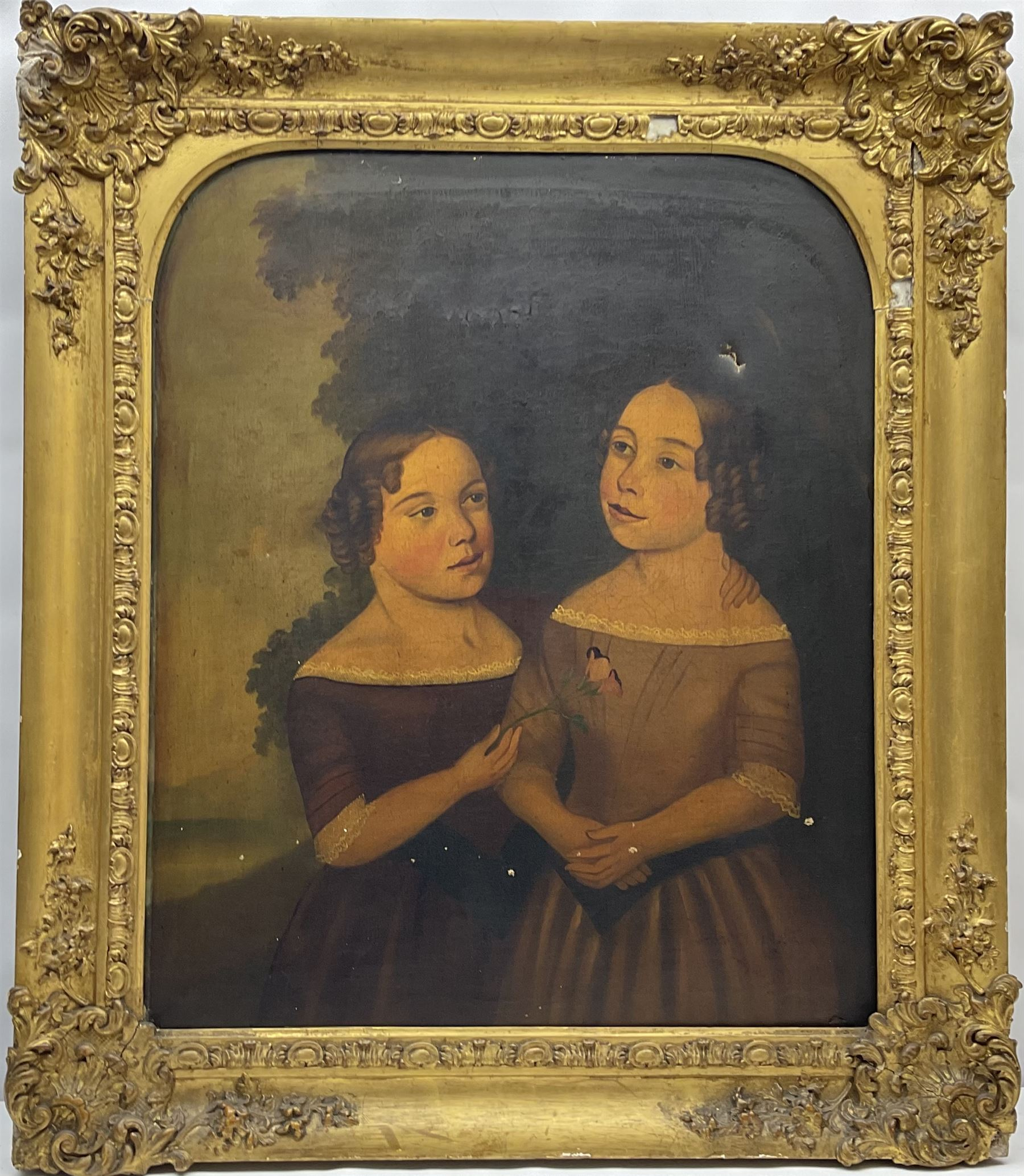 English Primitive School (Early/mid 19th century): Portrait of Two Girls - Image 2 of 4