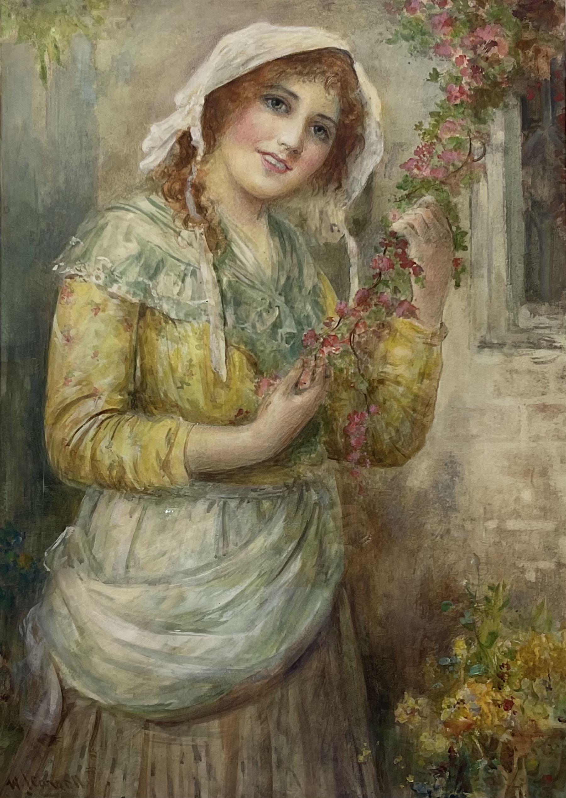 William Joseph Carroll (19th/20th Century): Country Girl Holding Blossom