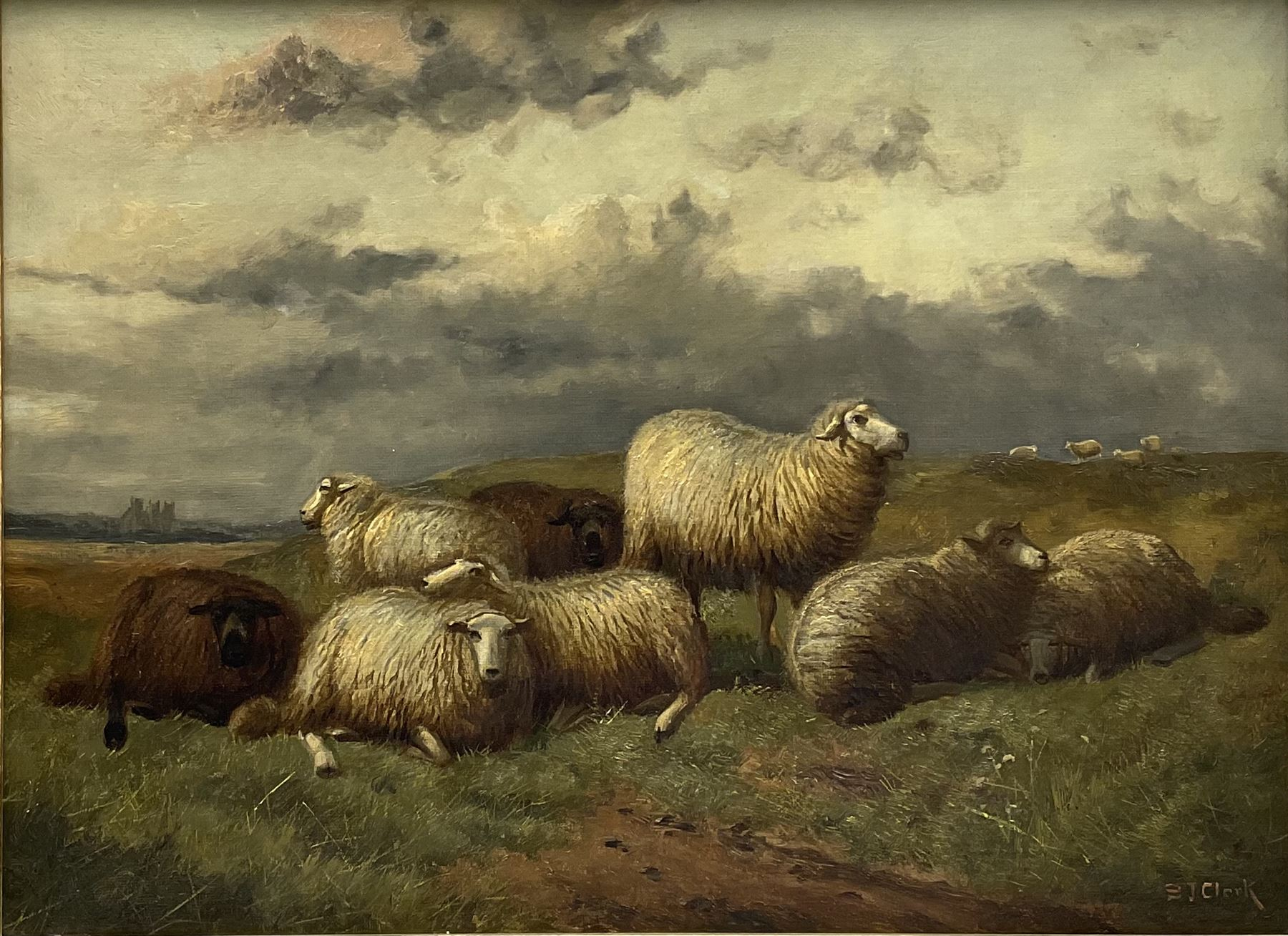 Samuel Joseph Clark (British 1834-1912): Sheep in Landscape
