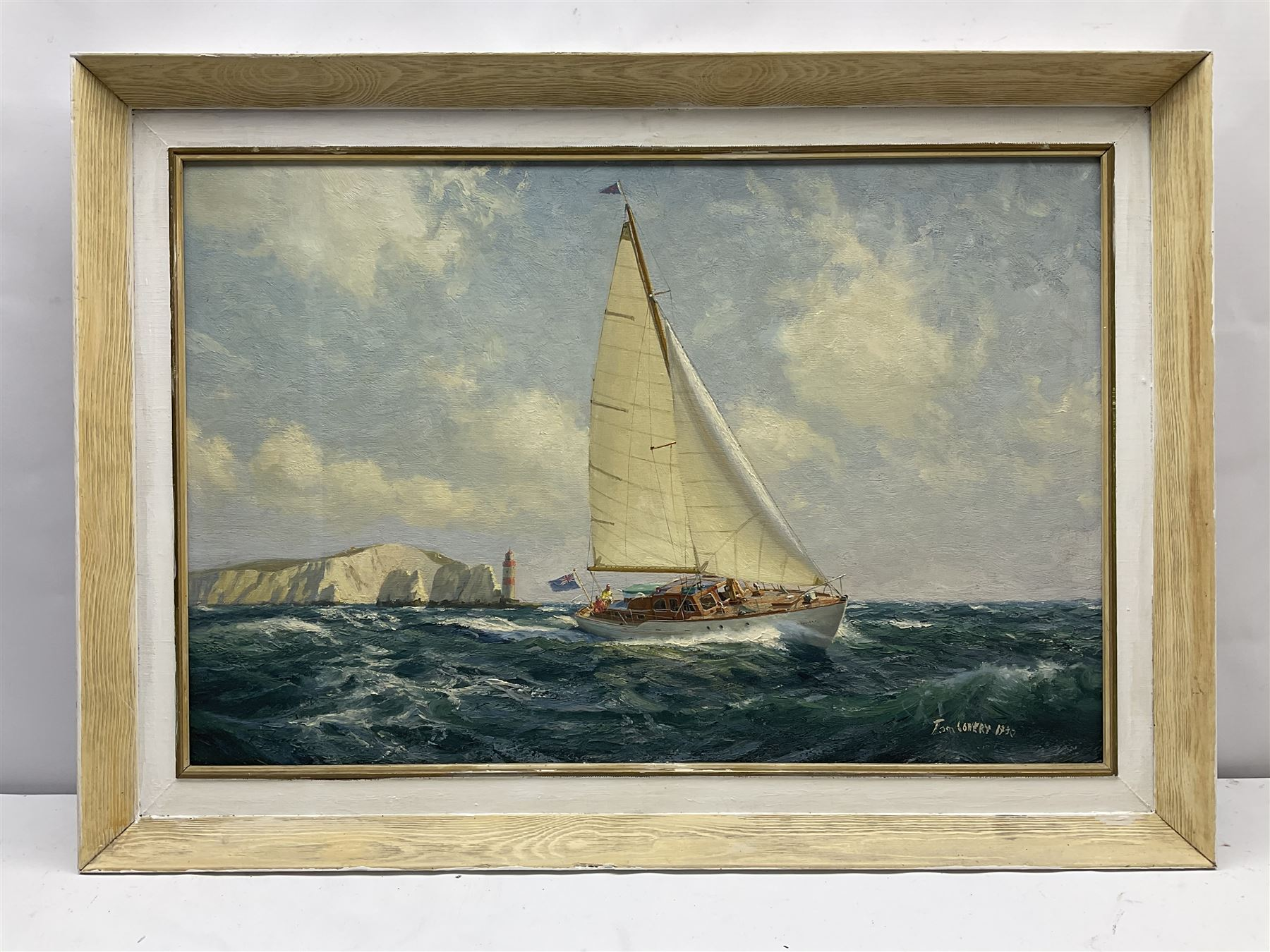 Tom Lowery (20th century): Racing Yacht 'Phylene' off the Needles Isle of Wight - Image 3 of 5