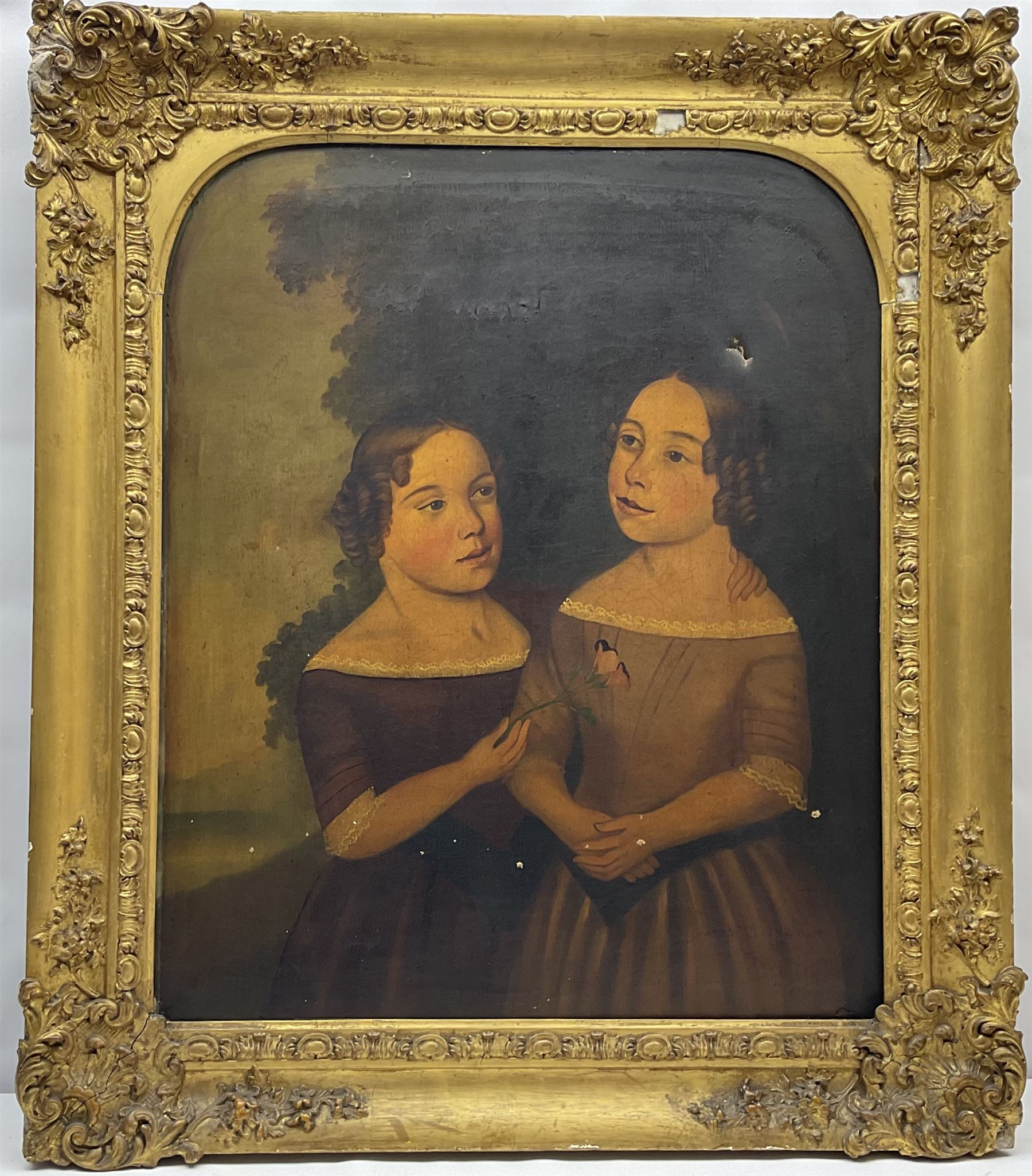 English Primitive School (Early/mid 19th century): Portrait of Two Girls - Image 4 of 4