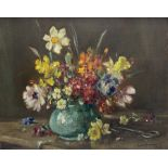 Owen Bowen (Staithes Group 1873-1967): Still Life of Spring Flowers in a Vase