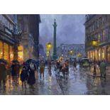 Edouard Léon Cortès (French 1882-1969): 'Rue de la Paix Paris at Dusk'