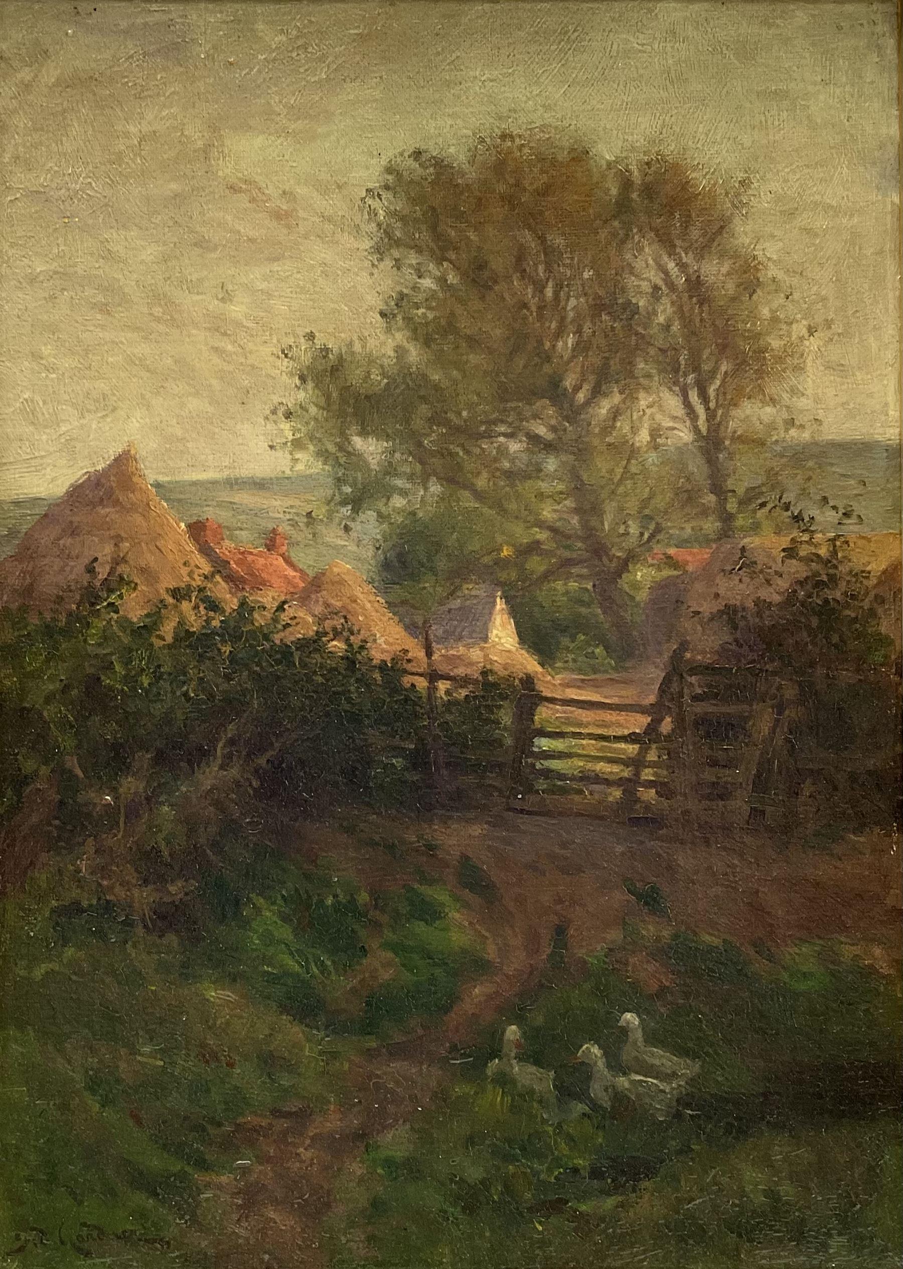 Sidney Valentine Gardner (Staithes Group 1869-1957): Yorkshire Farmstead with Ducks