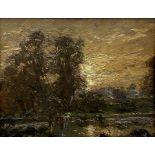 Herbert F Royle (British 1870-1958): Wooded Landscape at Sunset