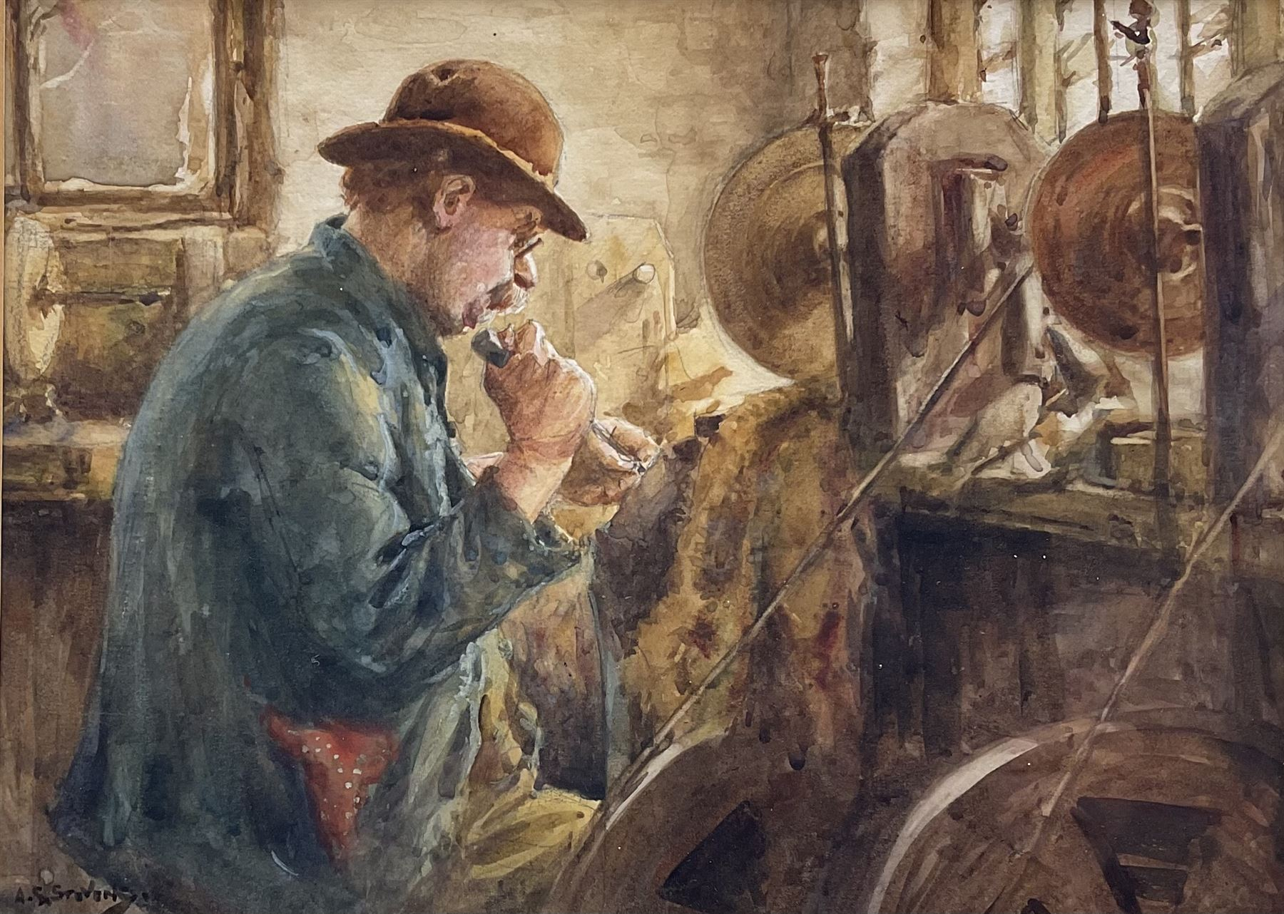 Albert George Stevens (Staithes Group 1863-1925): Whitby Jet Worker