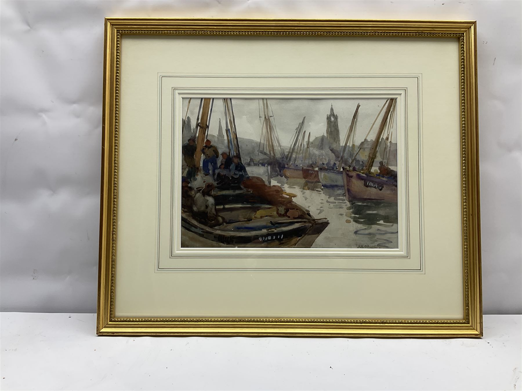 Joseph Richard Bagshawe (Staithes Group 1870-1909): Fishing Boats in Tarbert Harbour Argyle - Image 3 of 4