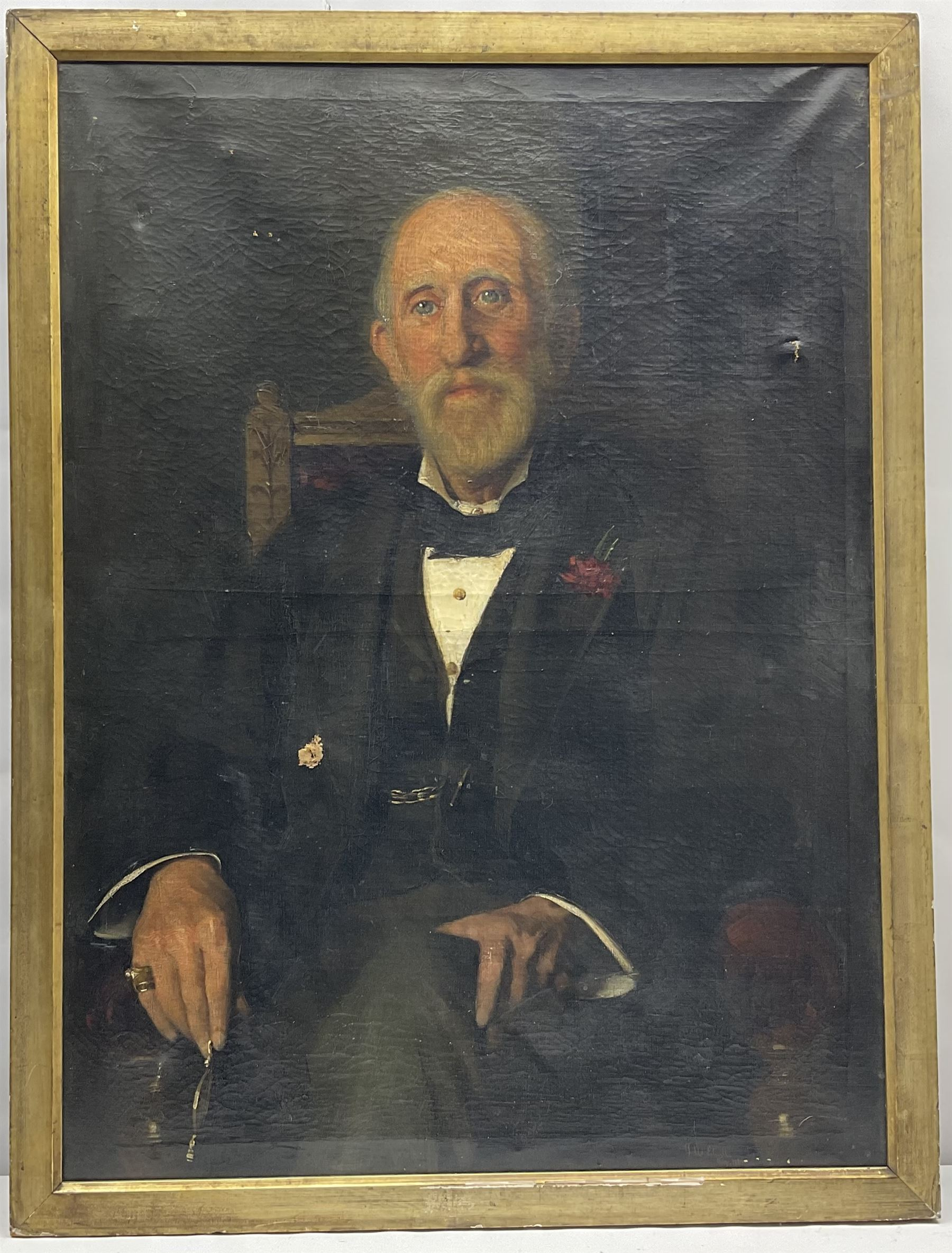 Frederick (Fred) William Elwell RA (British 1870-1958): Portrait of a seated Gentleman - Image 4 of 4