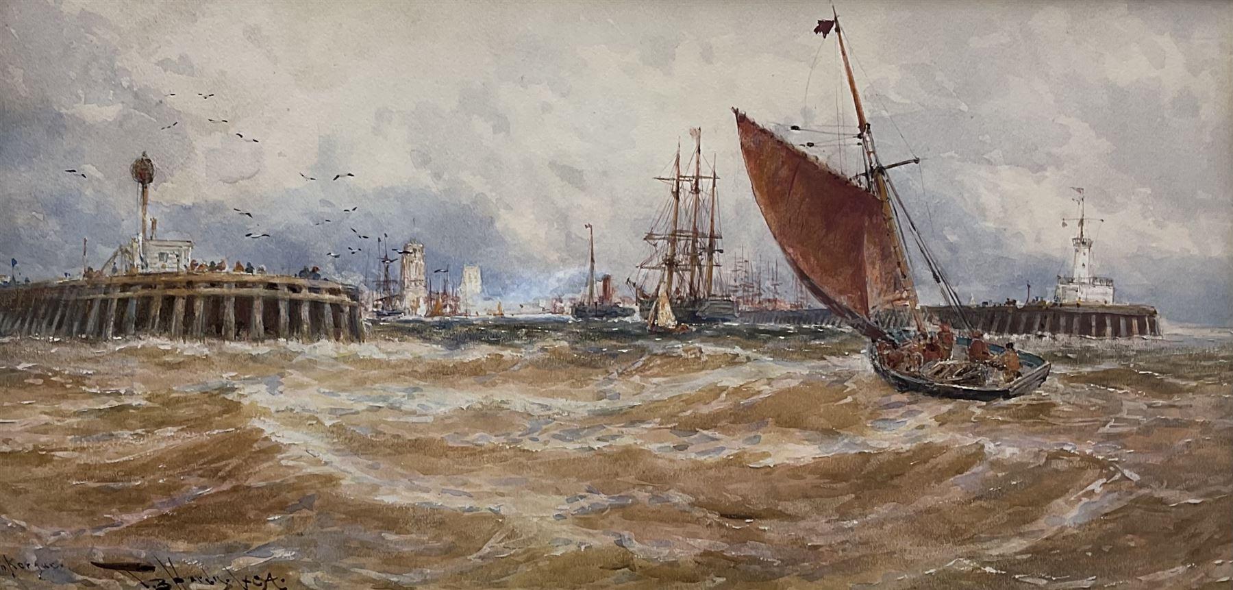 Thomas Bush Hardy RBA (British 1842-1897): 'Dunkerque' Fishing Boats returning to Harbour