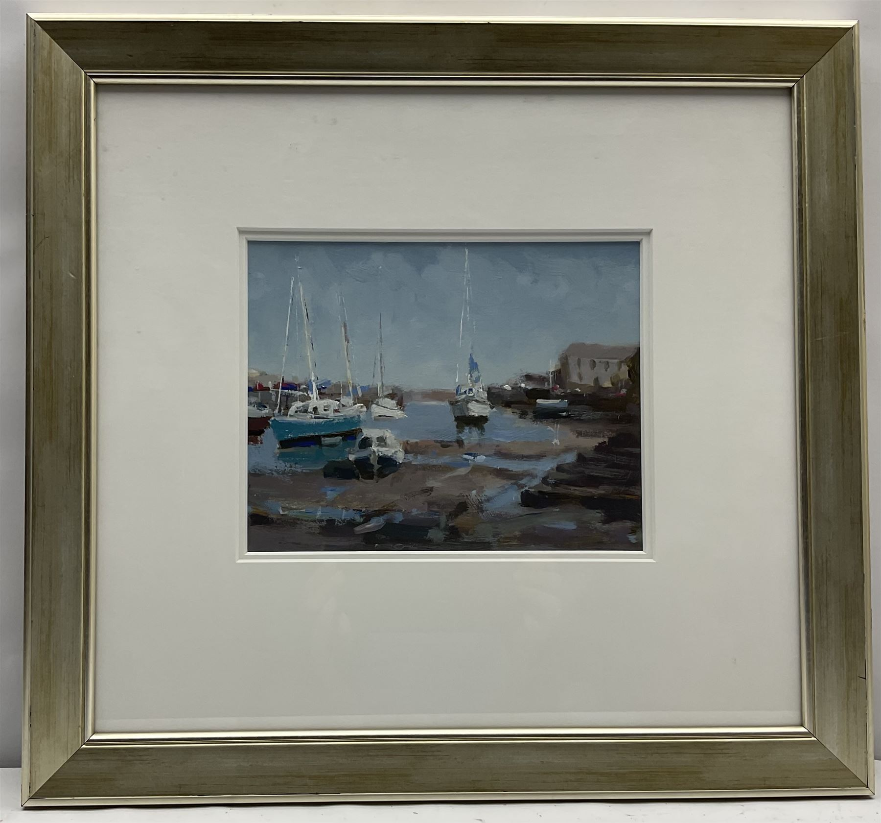 John Boyce (British 1938-): Yachts in the Harbour at Low Tide - Image 2 of 3