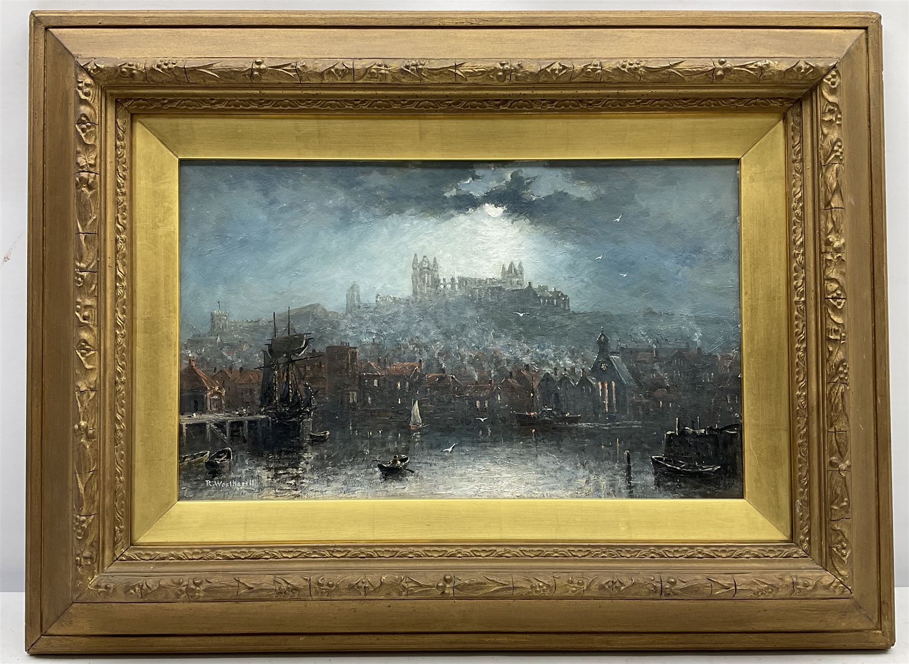 Richard Weatherill (British 1844-1913): Whitby Harbour and Abbey by Moonlight - Image 3 of 4