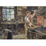 Albert George Stevens (Staithes Group 1863-1925): The Blacksmith's Forge