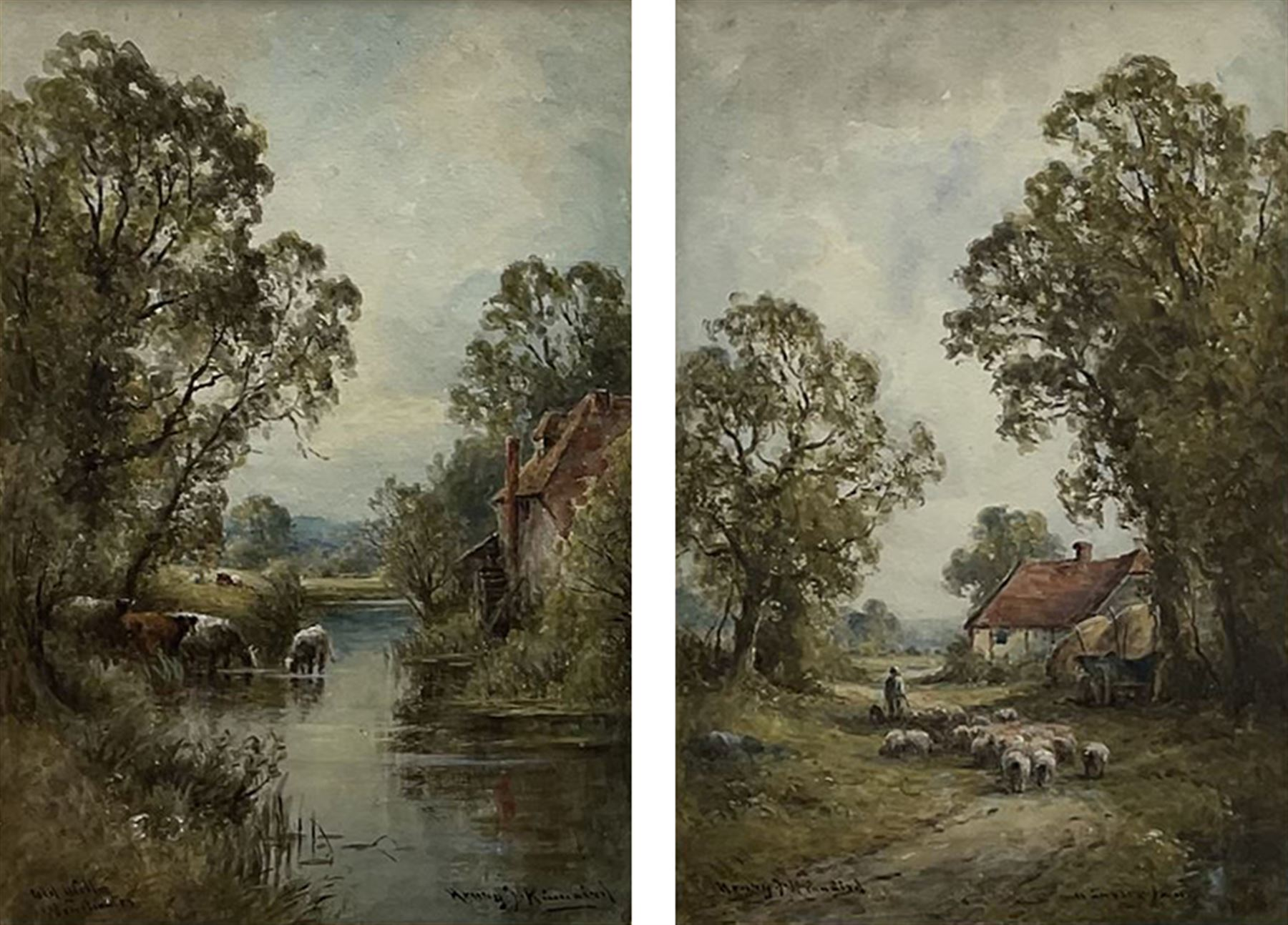 Henry J Kinnaird (British fl.1880-1920): 'Old Mill Winchester' and 'A Sussex Lane'