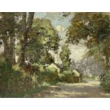 Francis G Wood (British exh.1906-1907): Sunlit Country Lane