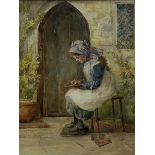English School (19th century): Young Girl at her Studies in the Fresh Air