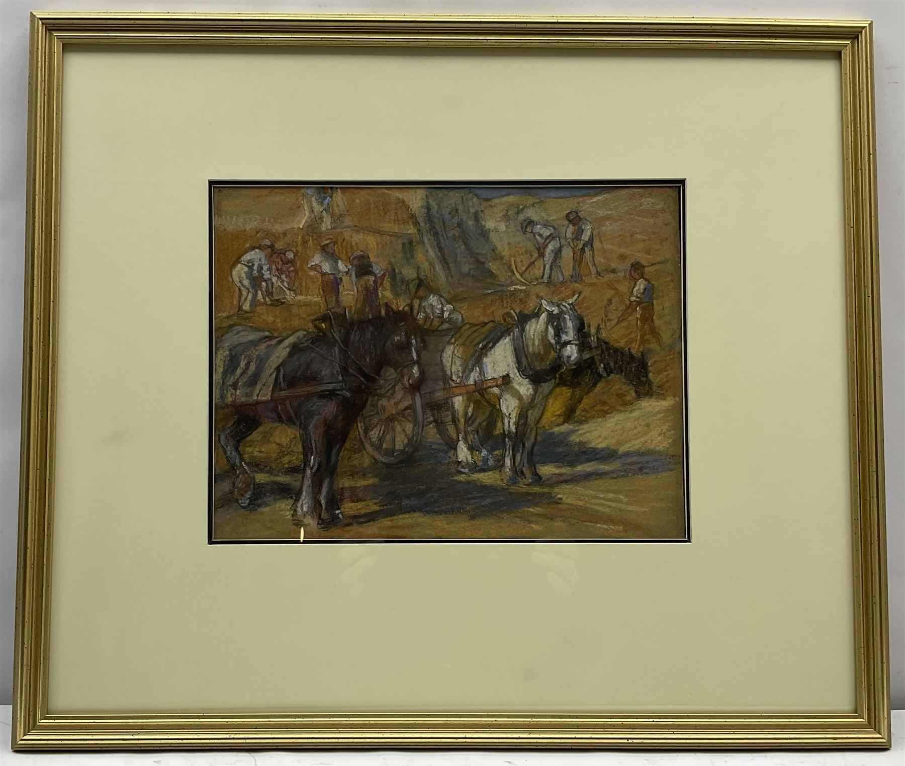 English School (Early 20th century): Workmen with Horses and Carts Quarrying Stone - Image 2 of 3