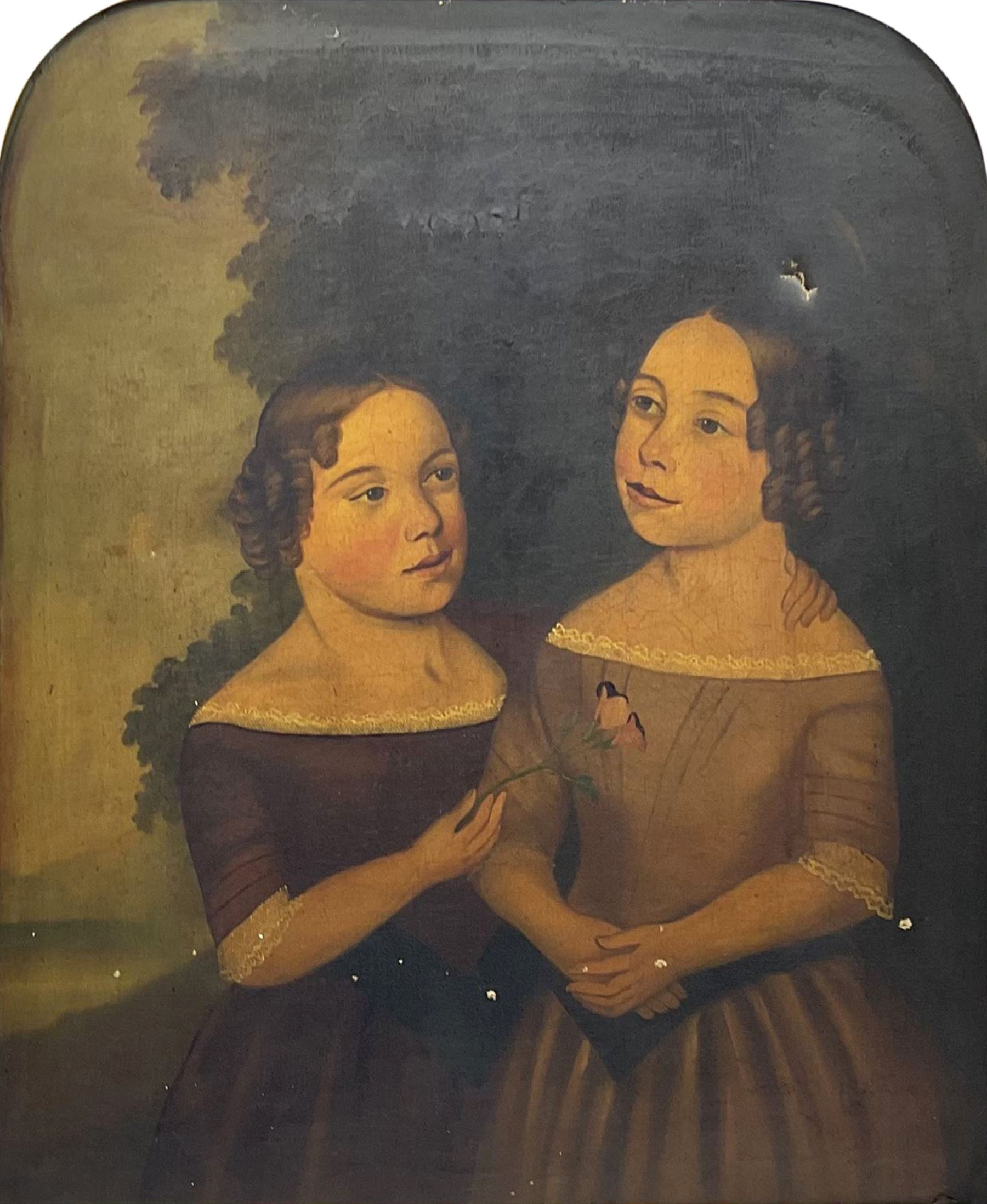 English Primitive School (Early/mid 19th century): Portrait of Two Girls