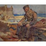 Henry Silkstone Hopwood (Staithes Group 1860-1914): Fisherman sitting on the Harbour Wall