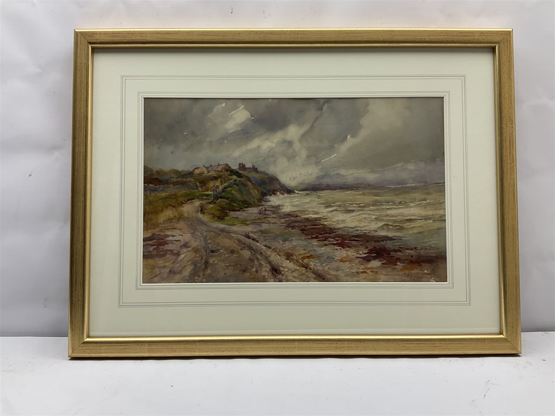 Henry Silkstone Hopwood (Staithes Group 1860-1914): Coastal scene with Figures and Cottages - Image 3 of 4