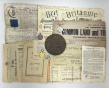 WW1 bronze memorial plaque to William James Morrison Child; WW1 pair of medals comprising British Wa