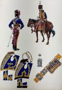 20th century school - watercolour drawing of the uniforms of Prince Albert's Own Hussars