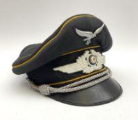 WW2 German Luftwaffe officer's black cloth peaked cap