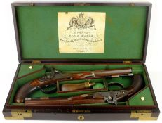 Rare pair of London 40 bore Officer's percussion dueling pistols by Robert Braggs c1830/40