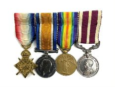 WW1 group of four miniature medals comprising 1914-15 Star