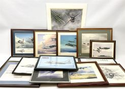 Thirteen framed and one unframed prints of military aircraft; and framed cross-stitch picture of a B