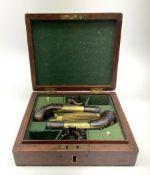 Pair of Dudley London approx. .50 calibre single barrel flintlock pocket pistols each with short