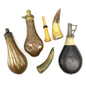 James Dixon & Sons copper and brass powder flask embossed with leaves H20cm; another copper powder f