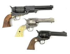 Three replica six-shot revolvers - USMR patent no.156; MGC Manufactury cal.44-40 Long Blank; and ano