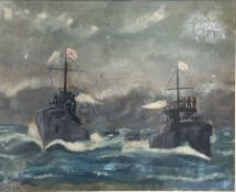 K. Dick (late 19th/early 20th century) - watercolour of The Battle of Tsushima 27th May 1905