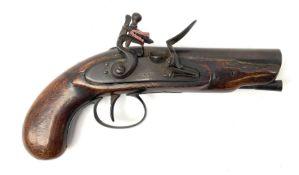 Early 19th century flintlock pocket pistol with 11.5cm round barrel