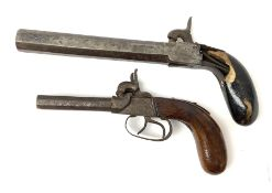 Mid-19th century percussion cap side-by-side double barrel pocket pistol with 7.5cm octagonal