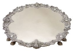 Large and impressive early 20th century Georgian style silver salver