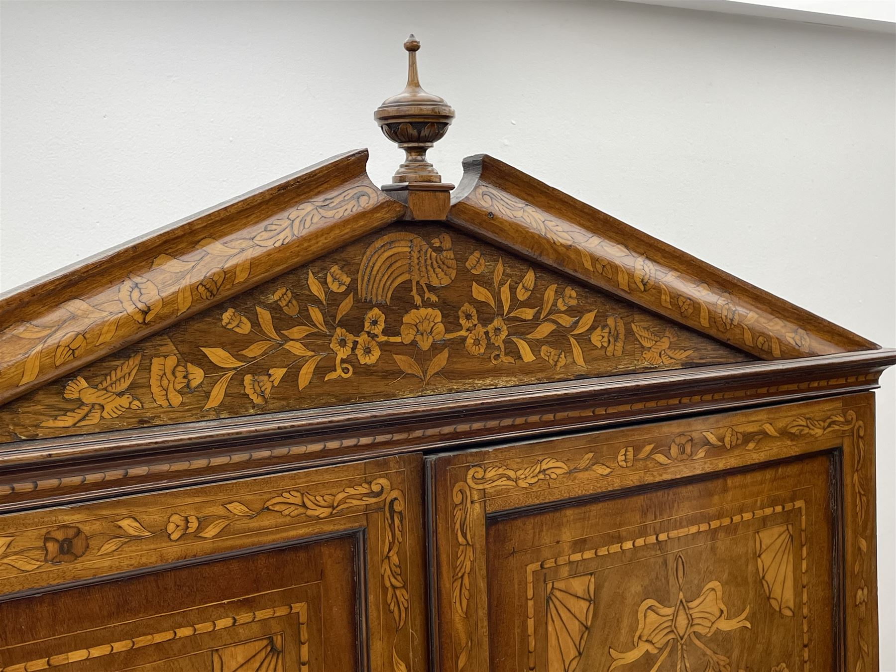 Georgian mahogany Dutch style marquetry press cupboard on chest - Image 5 of 8