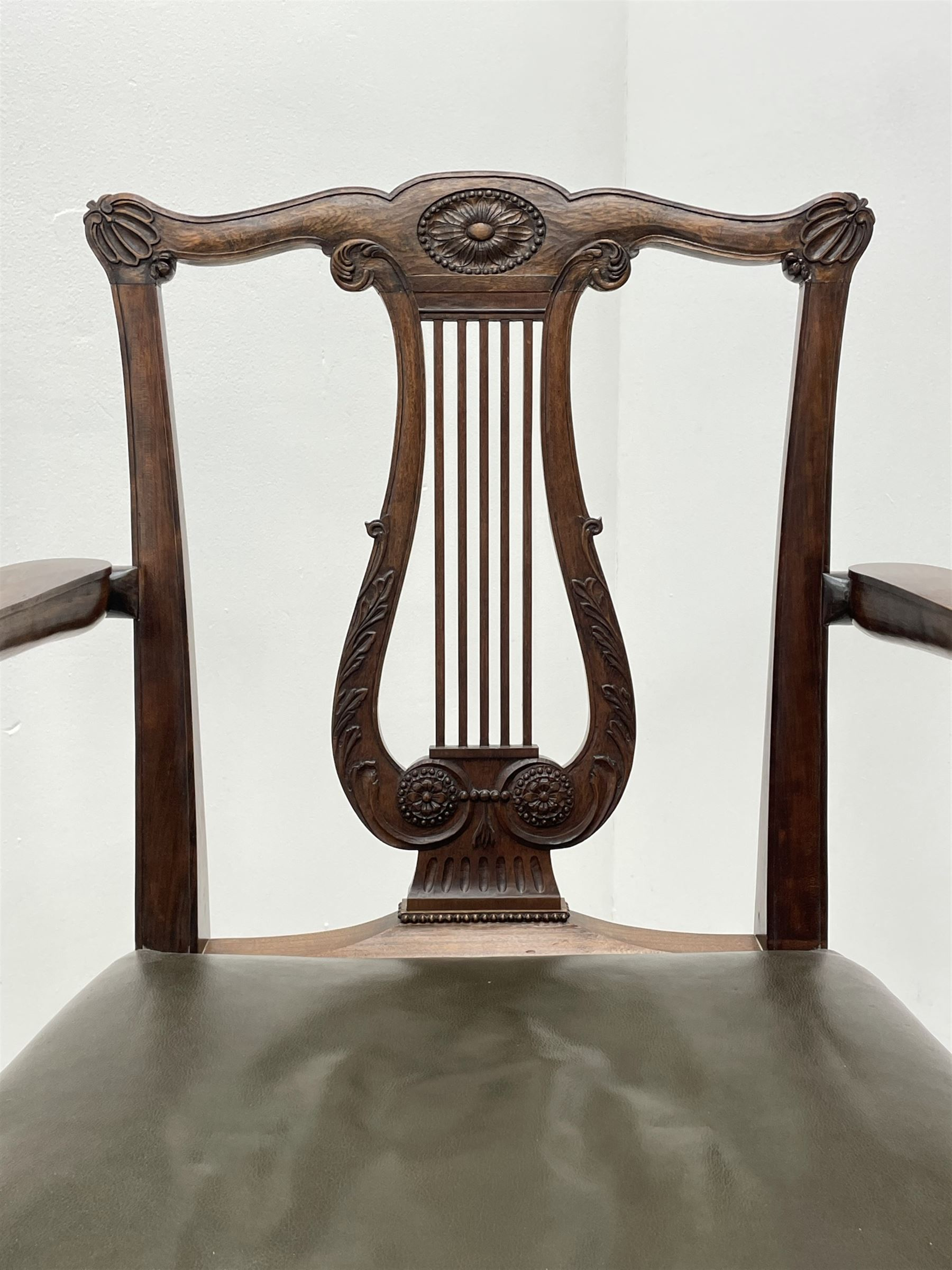 Pair late 20th century cherry wood Chippendale style elbow chairs - Image 7 of 8