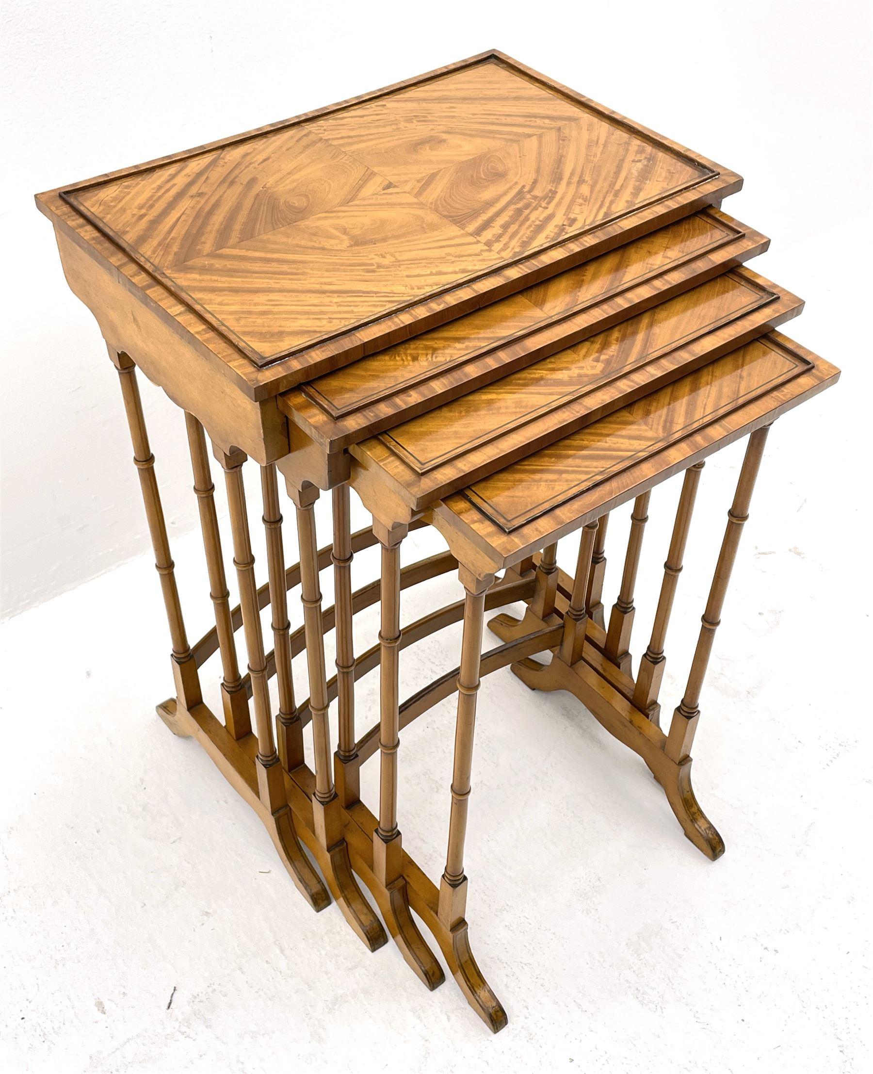 Edwardian satinwood quartetto nest of occasional tables - Image 3 of 6
