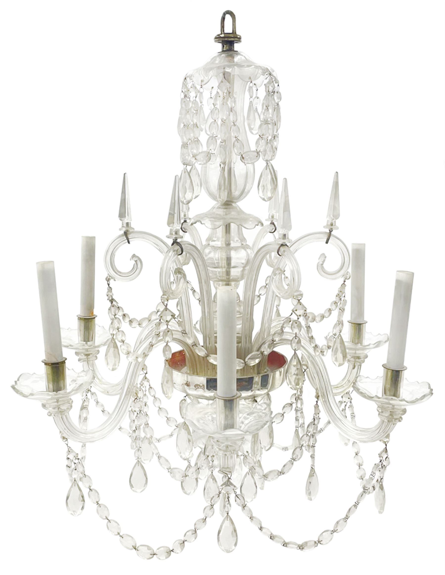 Late 20th century glass chandelier