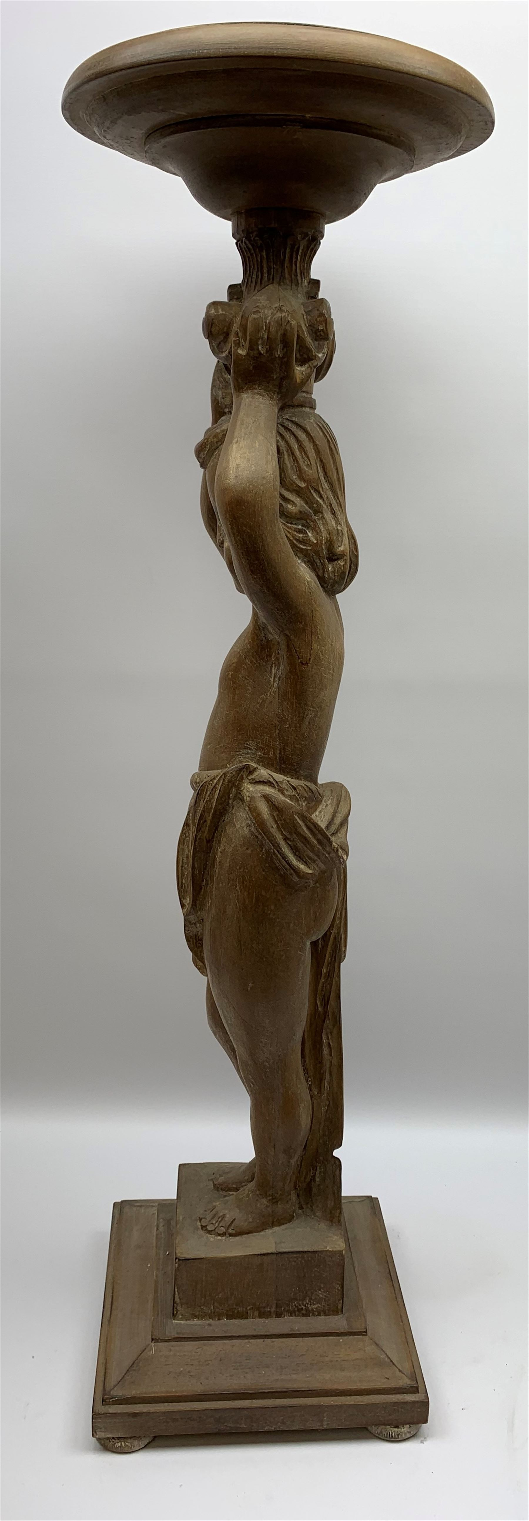Italian carved lime wood torchère, the column modelled as a putto with arms raised supporting a - Image 8 of 9