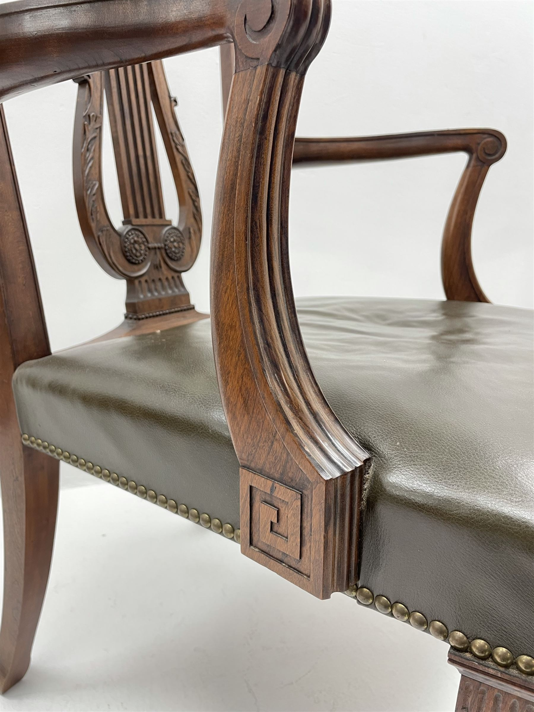 Pair late 20th century cherry wood Chippendale style elbow chairs - Image 5 of 8