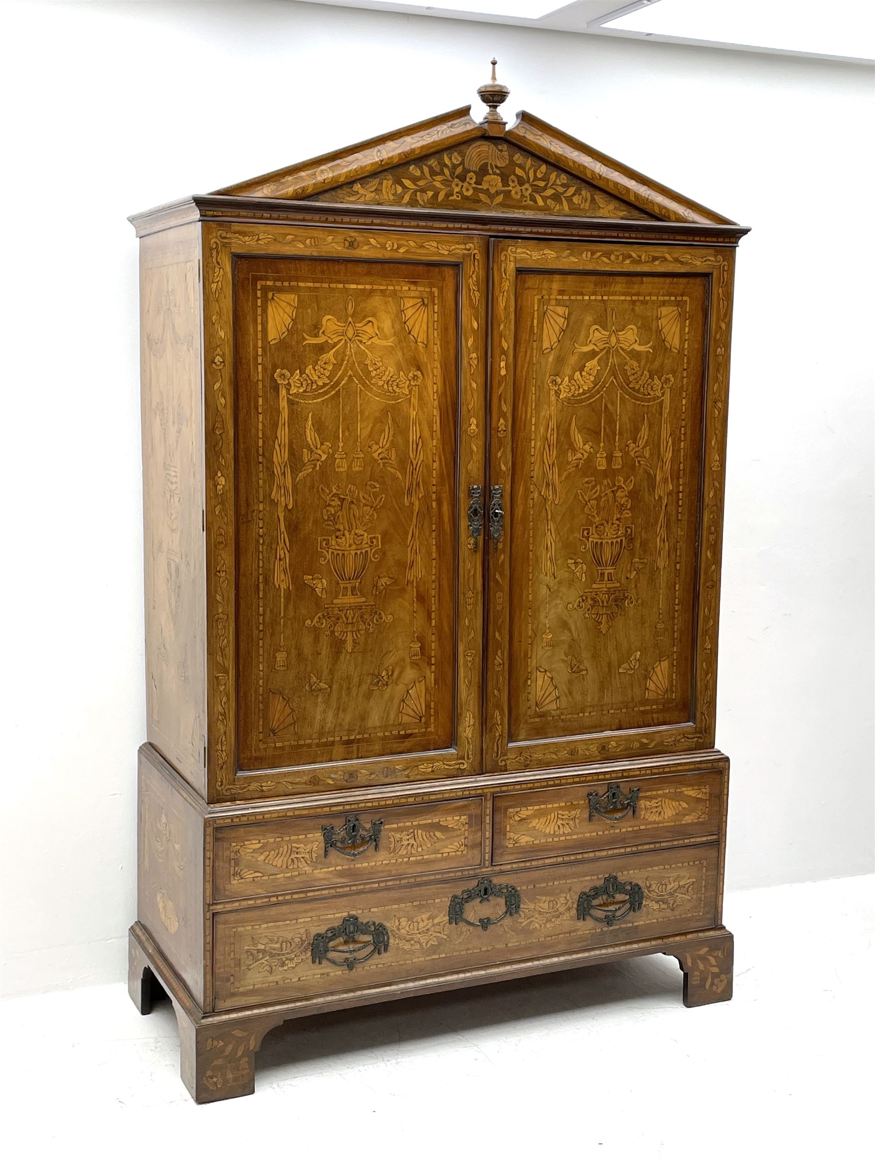 Georgian mahogany Dutch style marquetry press cupboard on chest - Image 2 of 8