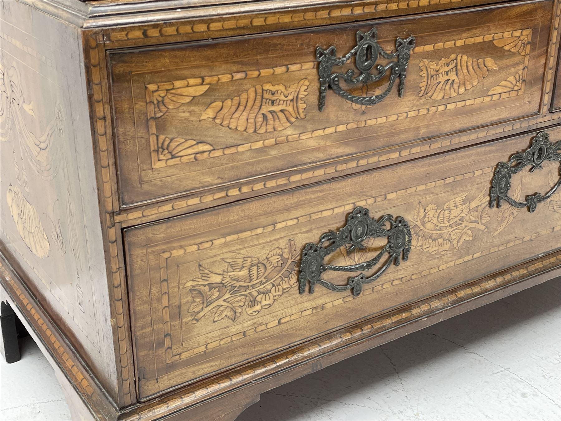 Georgian mahogany Dutch style marquetry press cupboard on chest - Image 7 of 8