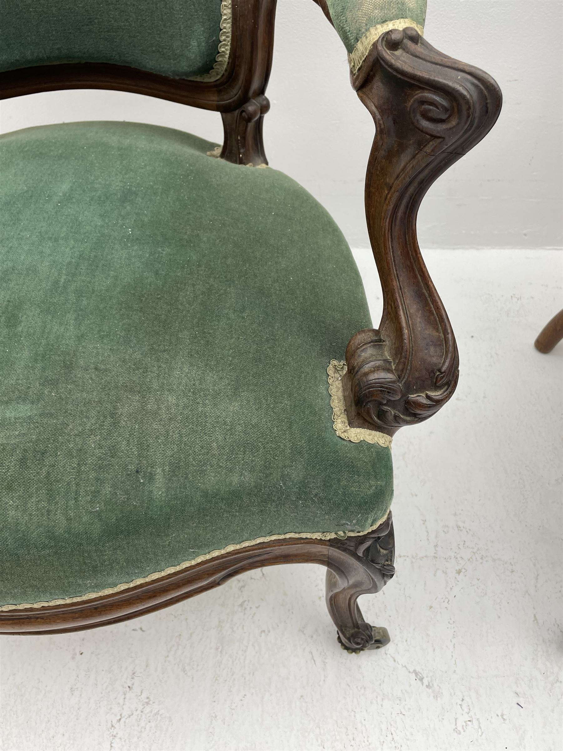 Set three Victorian rosewood drawing room open armchairs - Image 2 of 6